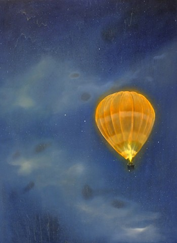 Hot Air Balloon flying at night