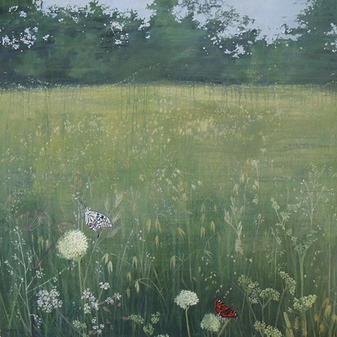 Summer Meadow (with Swallowtail and Painted Lady)  SOLD