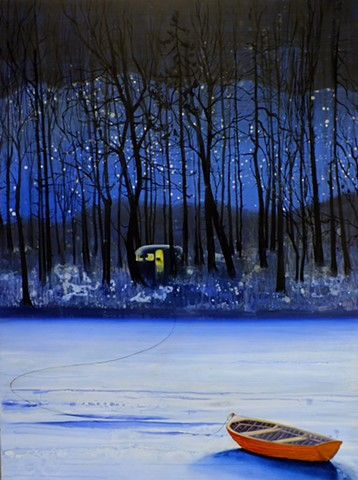 Frozen lake, dark woods, tethered boat, lit caravan.
