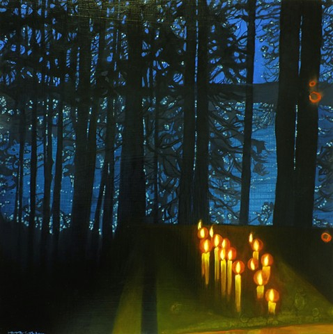 Stars on the lake, seen through silhouetted trees and borrowed candlelight