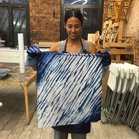 Indigo dyeing at Textile Arts Center