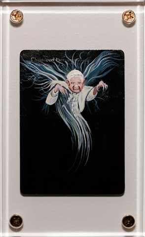 Magic: The Unravelling. Pope Benedict XVI as a horror because of covering up cardinals' child sex abuse scandal painting by Jonathan Mayers
