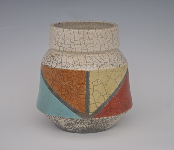 chevron stripe raku urn from spectrum series