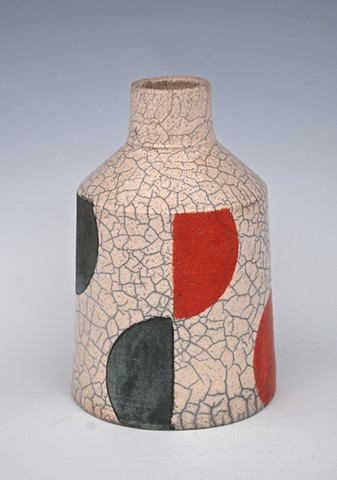 modernist black and red raku bottle from spectrum