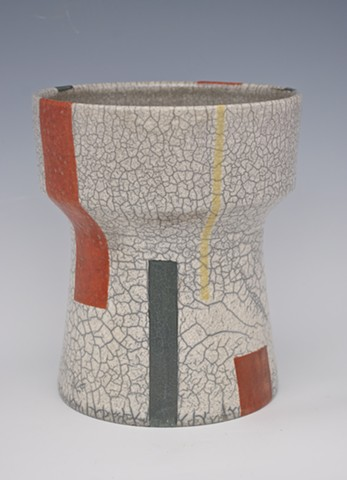 modern red, black, yellow white raku urn from spectrum series
