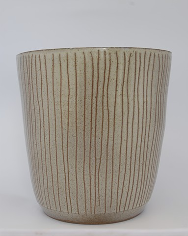 rustic modern planter- vertical stripes on buff clay body