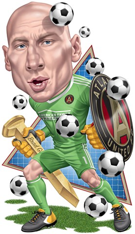 Brad Guzan art, phill flanders illustration, soccer artwork