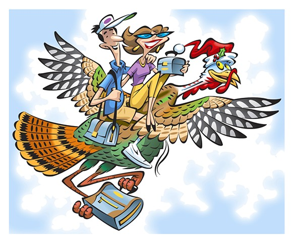 couple flying with holiday turkey