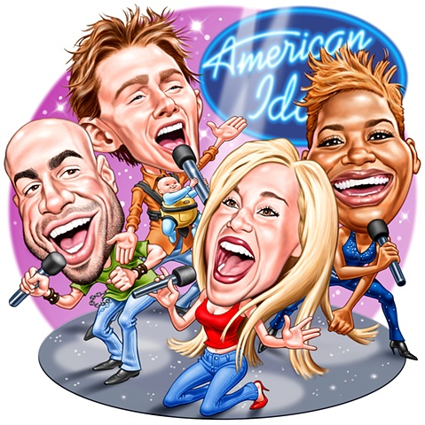 photoshop caricatures of American Idol personalities by Phill Flanders