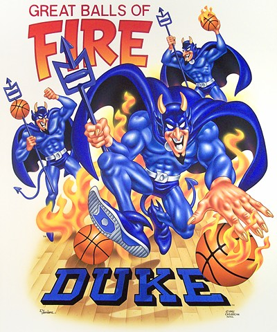 Caribbean Soul Tee shirt artwork of Duke University Blue Devils Basketball