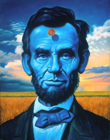 Phill Flanders,oil painting,surreal art,for sale,Abe Lincoln, The Blue Lincoln