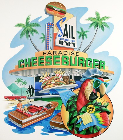 Caribbean Soul Tee shirt artwork of cheeseburger in paradise
