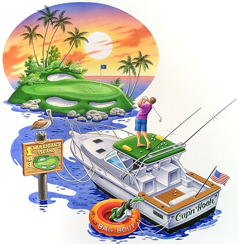 Caribbean Soul Tee shirt artwork art for golfing and boating fans