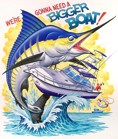 Caribbean Soul Tee shirt artwork of giant marlin attacking fishing boat