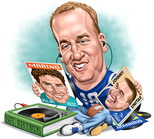 Caricature,Peyton Manning, Phill Flanders illustration,humorous illustration