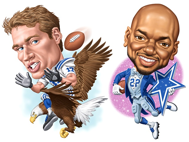 Digital Caricatures of Austin Collie and Emmitt Smith