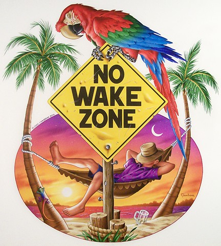 No Wake Zone Caribbean soul tee shirt artwork