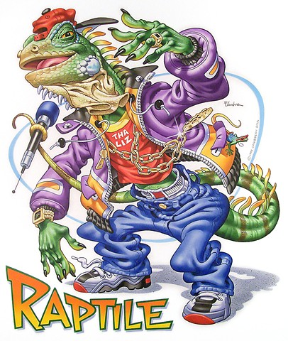 Caribbean Soul Tee shirt artwork of rapping reptile