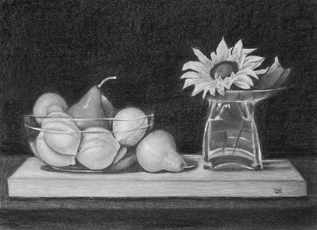 FLOWER, VASE AND FRUIT