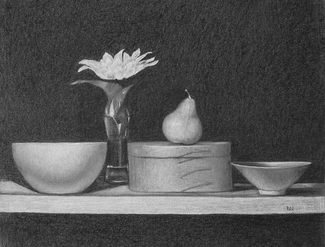 BOWLS, BOX, FLOWER AND PEAR