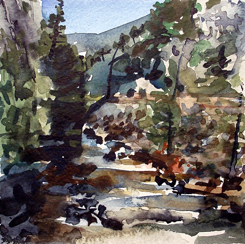 "Colorado. Boulder Creek  6""x6"" Watercolor"
