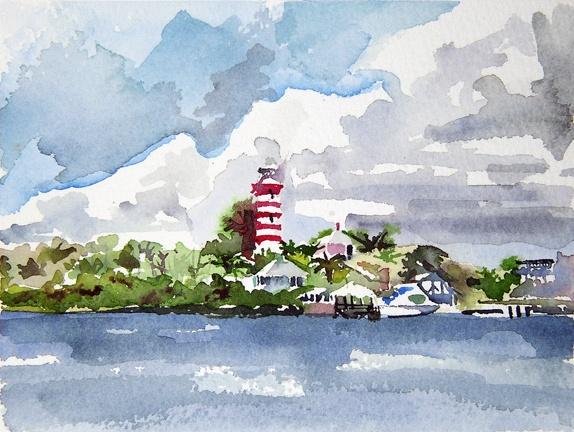"Bahamas. Hopetown lighthouse 5""x7"" Watercolor"