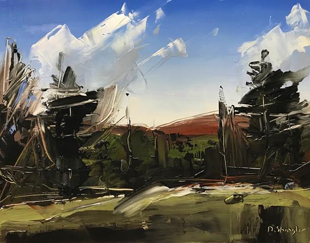 """'Banner Elk. North Carolina' 11""""x14"""" Oil on wood"""