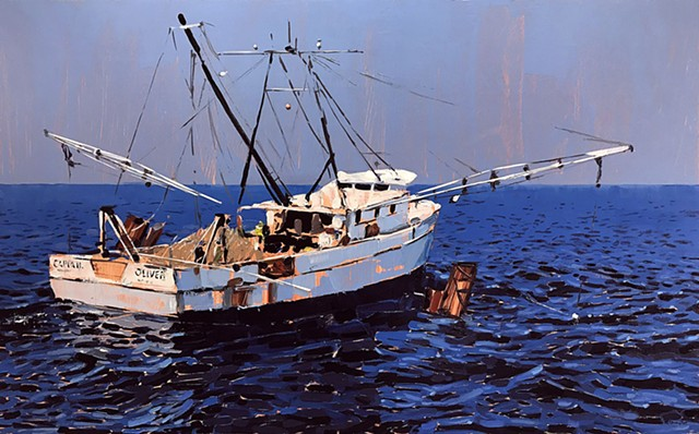 """'Scallop Boat. Morehead City. NC' 30""""x48"""" Oil on wood."""