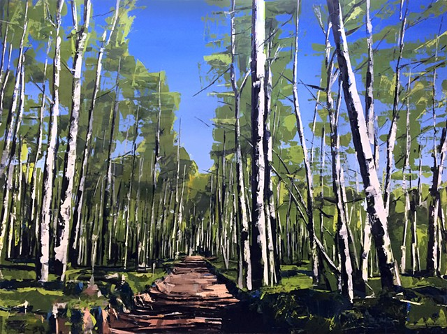 "'Aspen Forest. Telluride, CO' 48""x64"" Oil on wood"