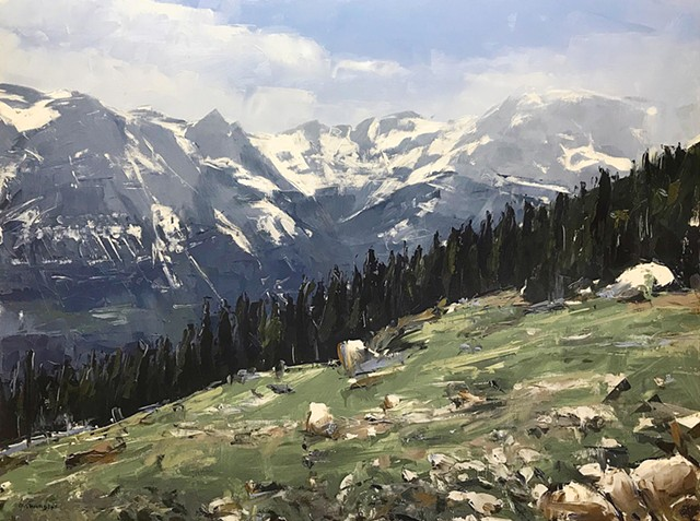 "'Rocky Mountain National Park. Colorado' Oil on wood. 30""x40"" Oil on wood"