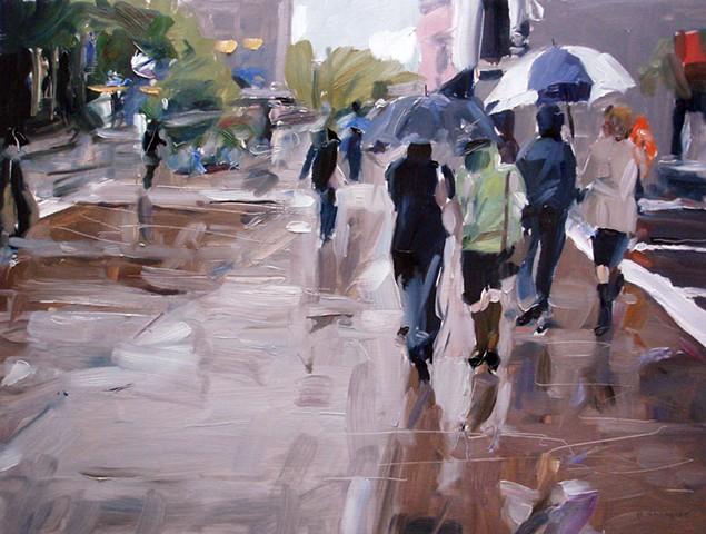 """'City Rain'  18""""x24"""" Oil on wood"""