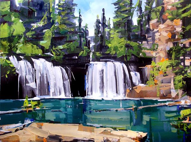 "'Hanging Lake. Glenwood Canyon. Colorado' 36""x48"" Oil on wood"