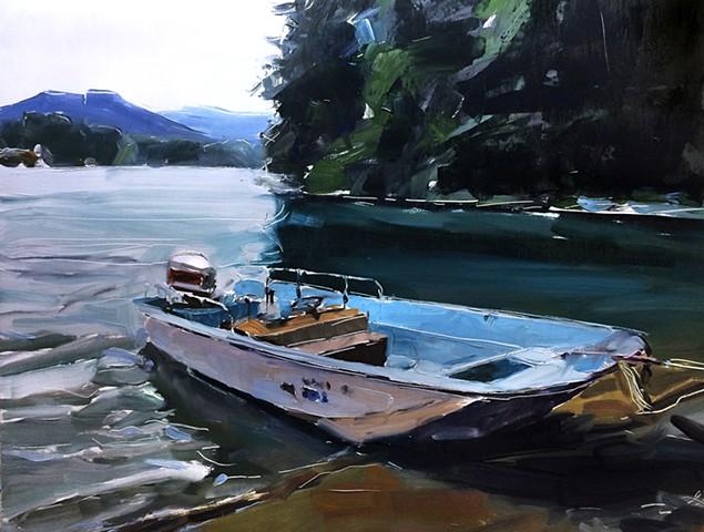 "'Boston Whaler on Lake Lure' 24""x30"" Oil on wood"