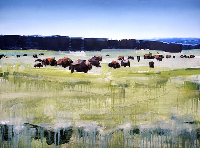 "'Buffalo. Yellowstone, WY""  35""x48"" Oil on wood"