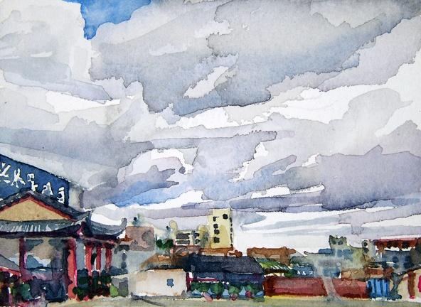 "China. Restaurant  5""x7"" Watercolor"