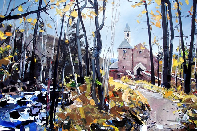 "'Beaver Creek Chapel. Avon, Colorado' 25""x38"" Oil on wood"