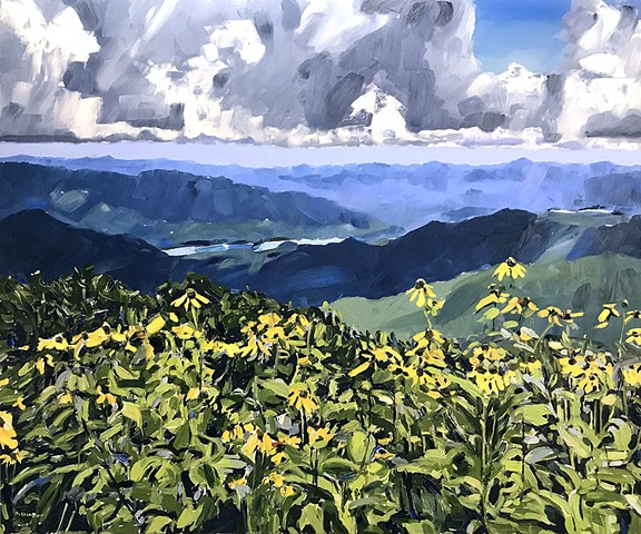 "'Blue Ridge Mountains. NC' 40""x48"" Oil on wood"