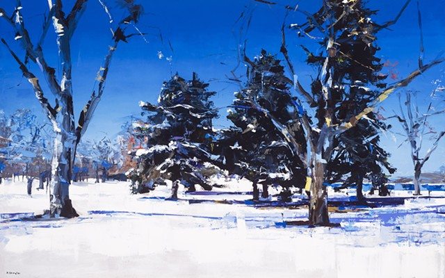 "'City Park' Denver, Colorado. 30""x48"" Oil on wood"