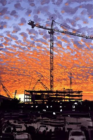 "'Kane Construction' 24""x36"" Oil on wood"