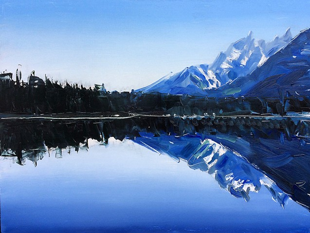 "'Grand Tetons. Reflection' 18""x24"" Oil o"
