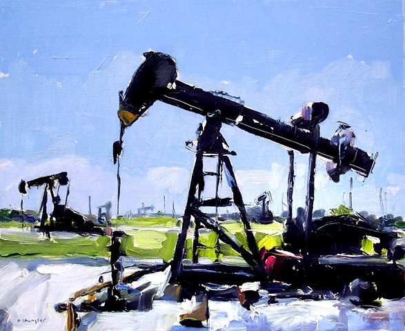 "'2 Oil Pumps' 12""x20"" Oil on wood"