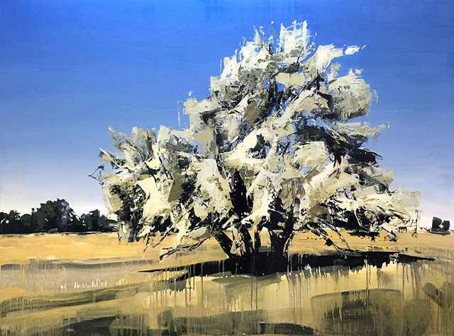 "'Montana Tree. Red Lodge, MT'  48""x64"" Oil on wood"