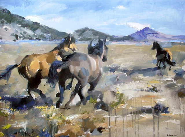 "Exempla Cardiovascular Healthcare Clinic  'Colorado horses' 18""x24"" Oil on wood"