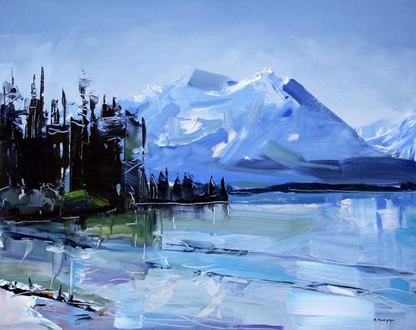 "'Grand Teton National Park' Demo Painting 16""x20"" Oil on wood"