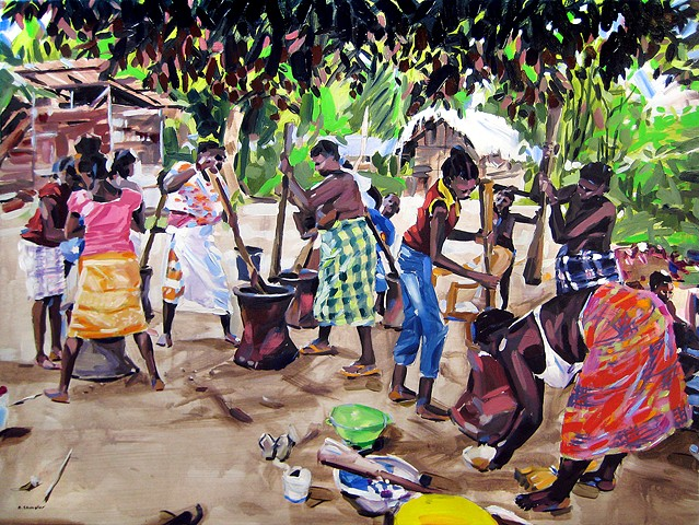 "'Grinding Palm Oil. Suriname, South America' 30""x40"" Oil on wood"