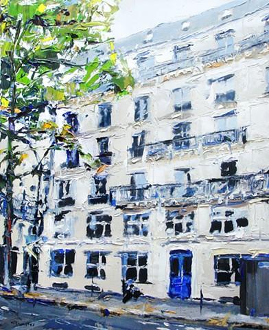 """Building in Paris 17""""x21"""" Oil on wood."""