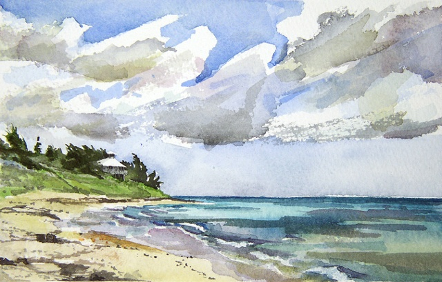 "Bahamas. Beach 7""x9"" Watercolor"