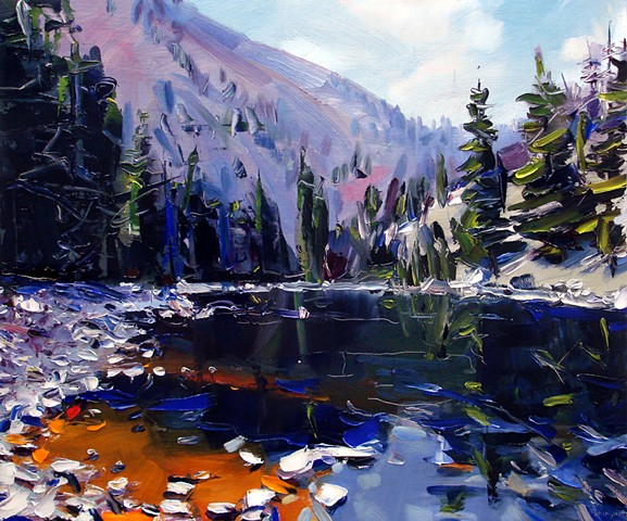 "'The Blue River. Colorado'  20""x24"" Oil on wood"