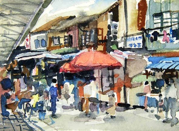 "China. Bird and Flower Market  5""x7"" Watercolor"