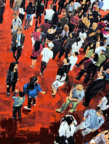 "'People on red carpet'  64""x48"" Oil on wood"